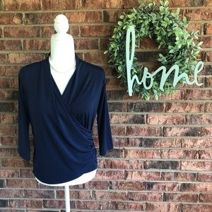 { ALLISON TAYLOR } Navy Mock Wrap Blouse